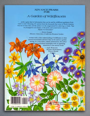 A Garden of Wildflowers book - back cover.