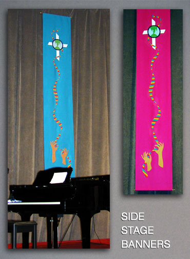 Fabric twin narrow banners for Ohio UCC Annual Conference