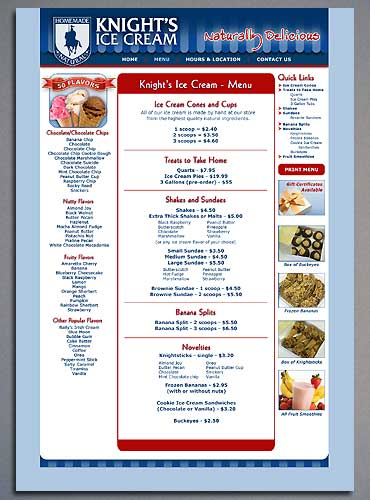 The Menu page of the Knight's Ice Cream website.