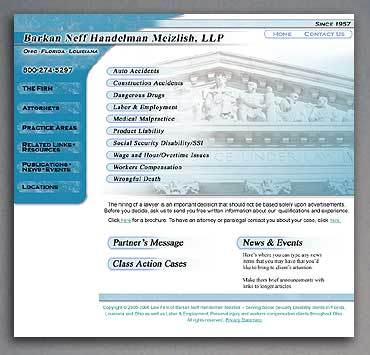 New law firm home page showing hover state links.