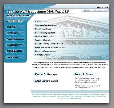 New law firm home page