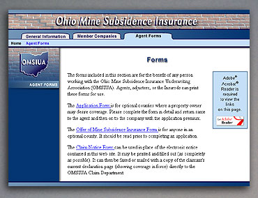 Ohio Mine Subsidence Insurance forms page.