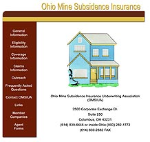 Former Ohio Mine Subsidence Insurance web site home page
