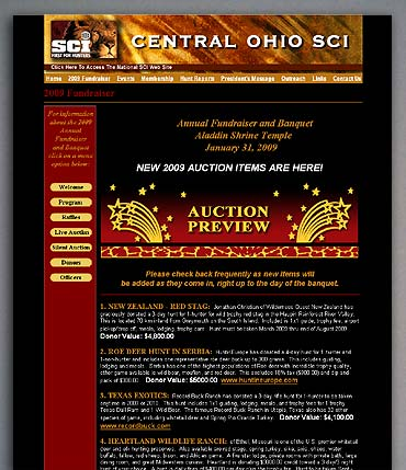 Central Ohio SCI live auction preview page.